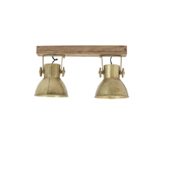 Light & Living Hang-/wandlamp 'Elay' 2-Lamps, hout weather barn+brons