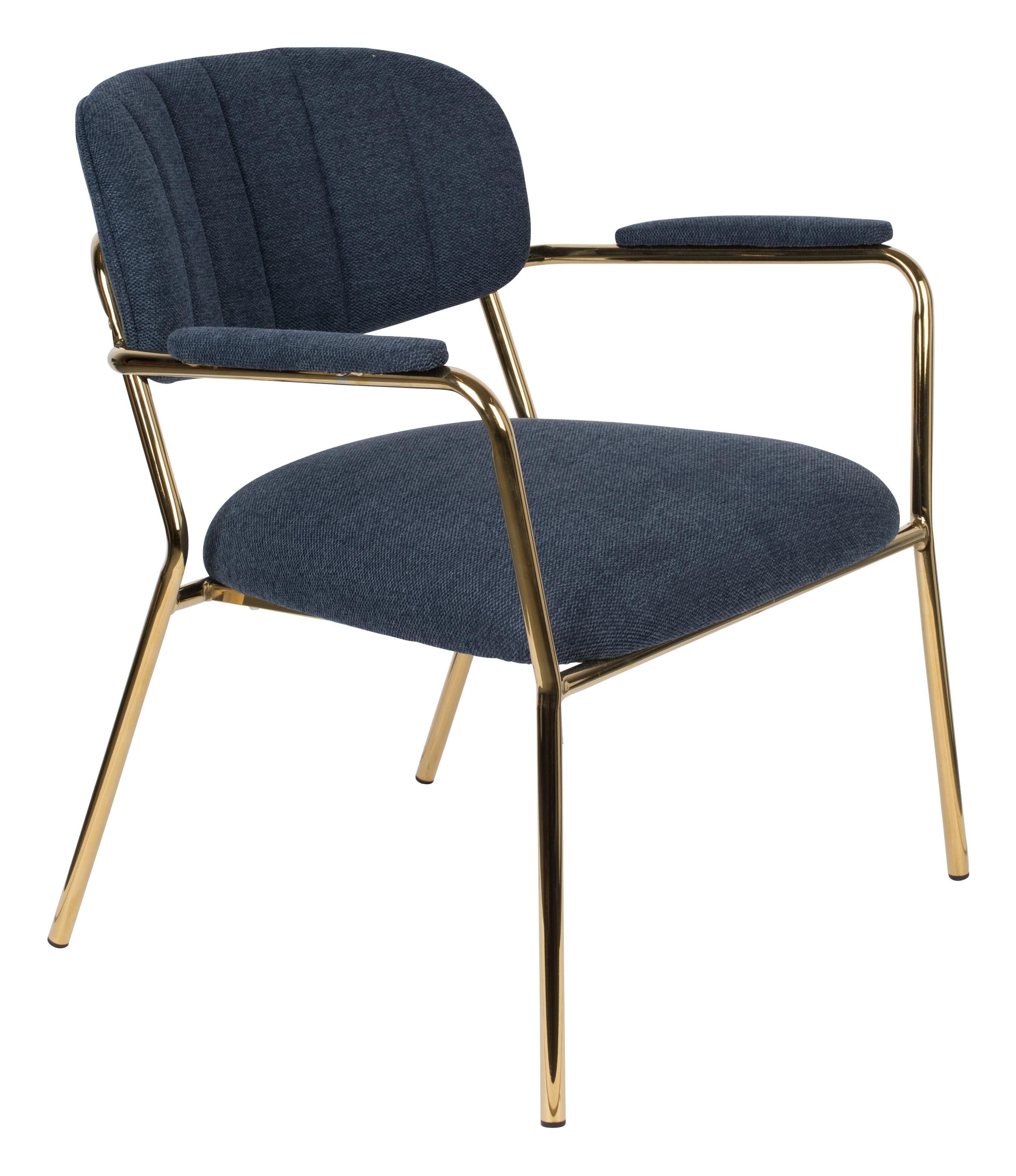 ZILT Fauteuil 'Kolten' met armleuning, kleur Goud/Donkerblauw
