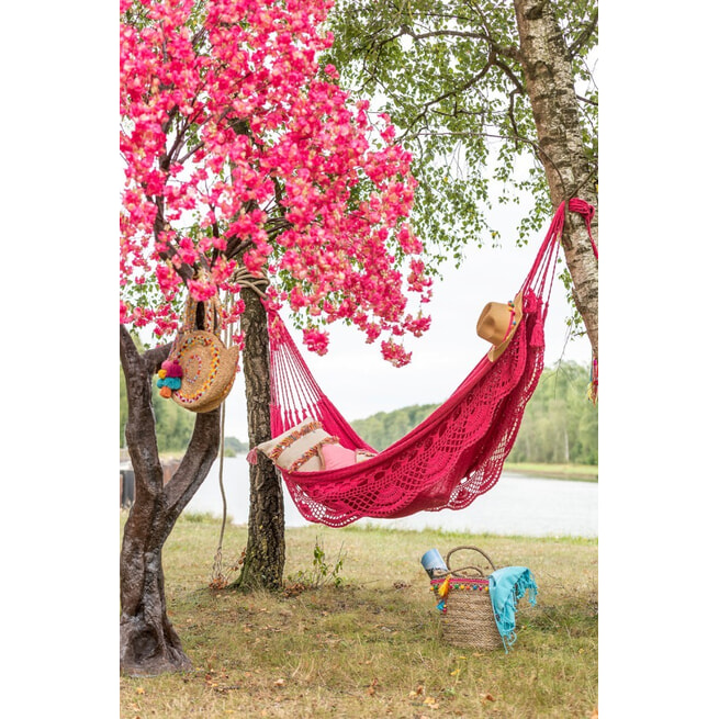 J-Line Gehaakte Hangmat 'Cristiane' kleur Roze