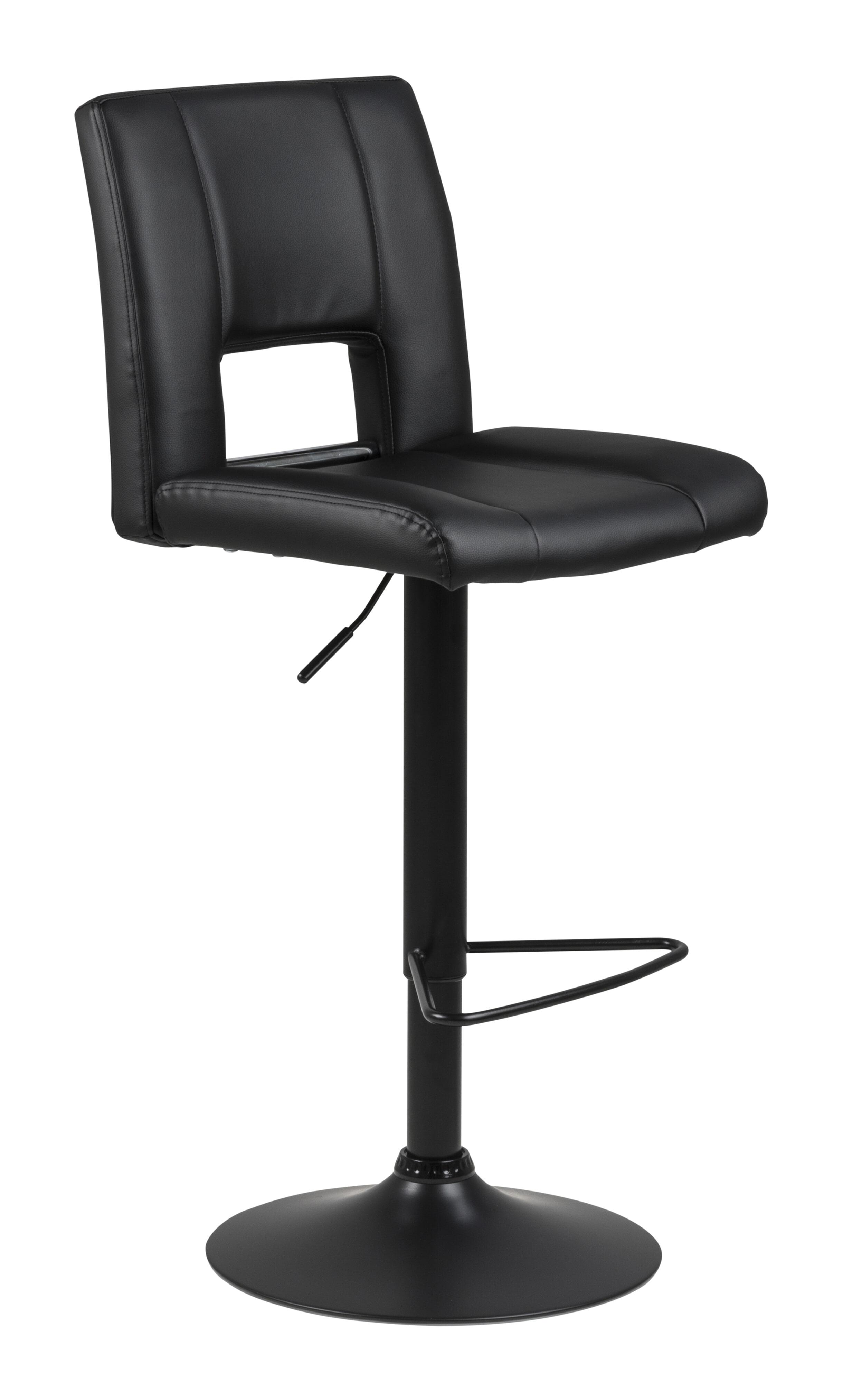 Bendt Barkruk 'Rut' (zithoogte 62-83cm), PU-leder, kleur Zwart