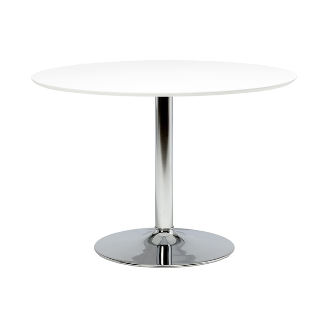 Bendt Ronde Eettafel 'Ina' 110cm, kleur chroom / wit