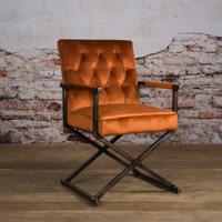Tower Living Eetkamerstoel 'Oldham' Velvet, kleur oranje