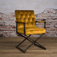 Tower Living Eetkamerstoel 'Oldham' Velvet, kleur geel