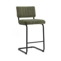 By-Boo Barstoel 'Operator' (zithoogte 68cm) Velvet, kleur Groen