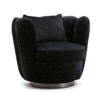 Eleonora Draaifauteuil 'Maria' Velvet, kleur zwart