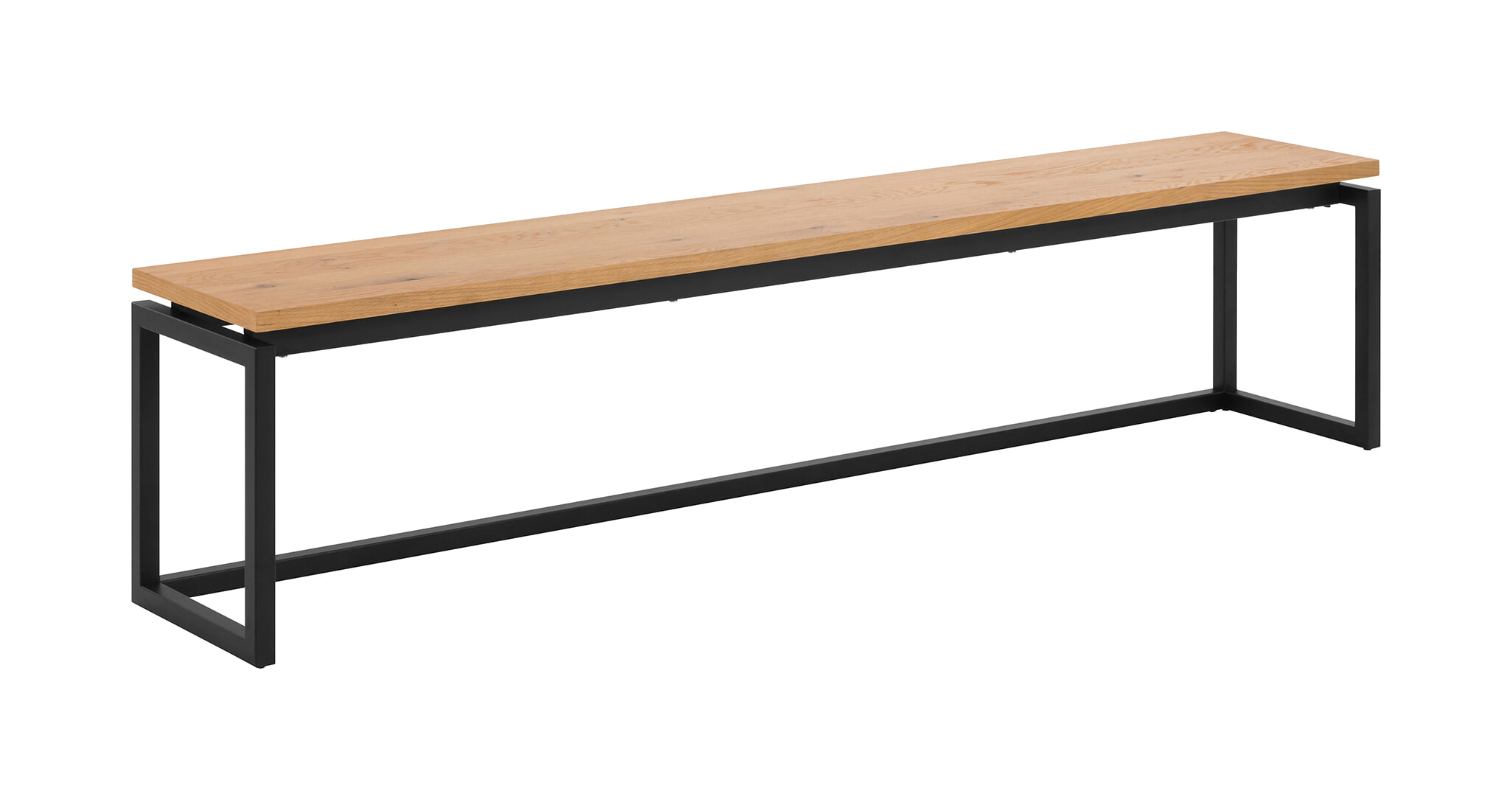 Interstil Eetkamerbank 'Dalarna' Eiken met zwart metaal, 160cm