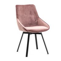 By-Boo Eetkamerstoel 'Beau' Velvet, kleur Old Pink