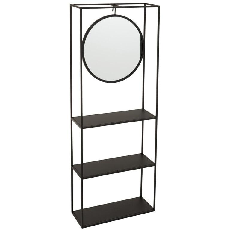 J-Line Hangrek 'Damiaan' Spiegel, kleur Zwart