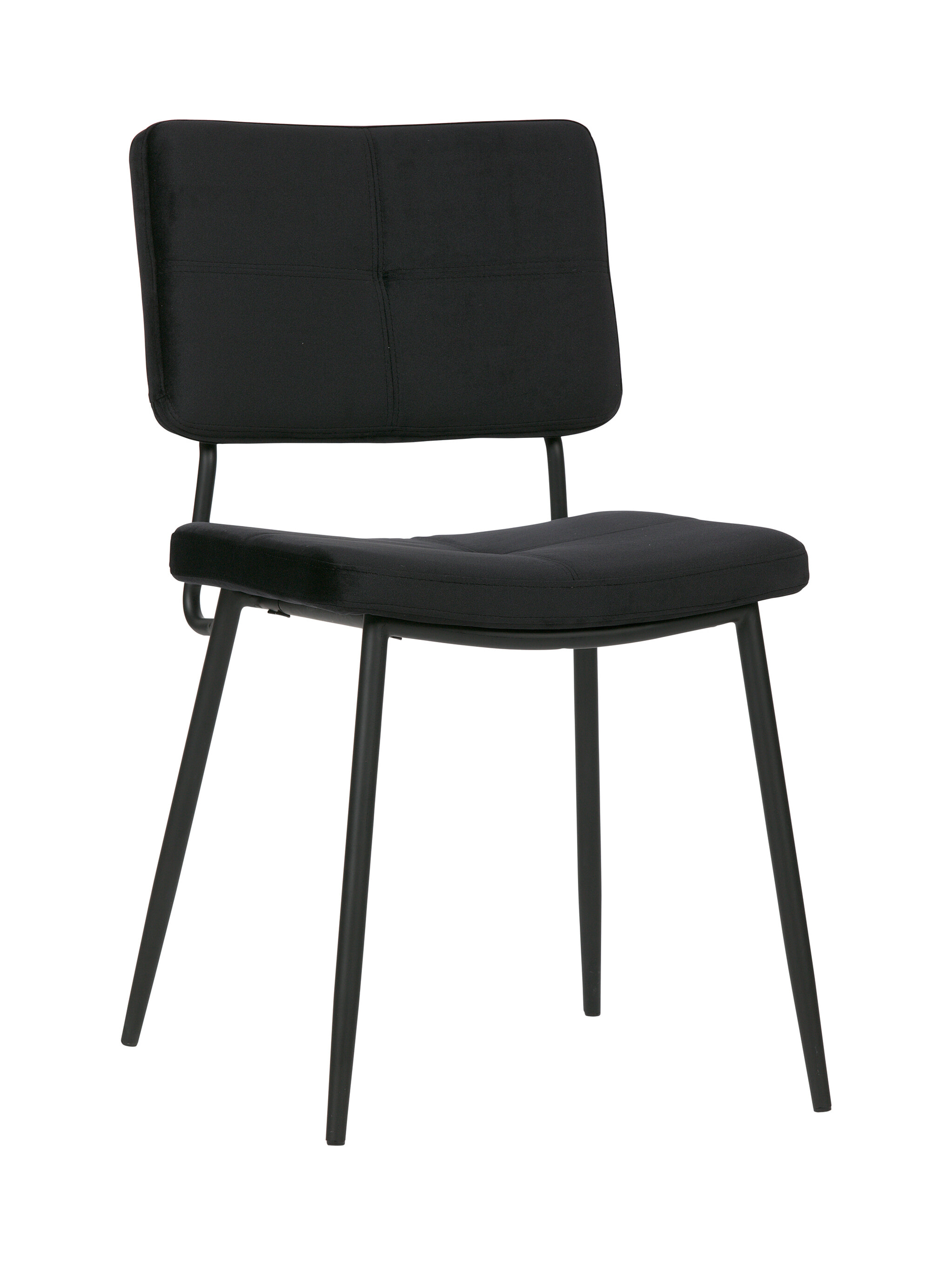 WOOOD Eetkamerstoel 'Kaat' Velvet, kleur Zwart