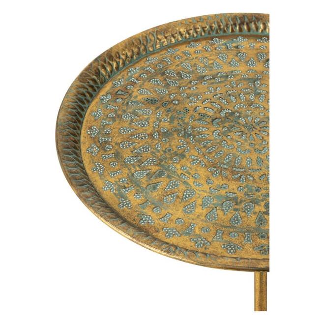 J-Line Bijzettafel 'Alfonsina' Small, kleur Oud Goud, Ø67,5cm