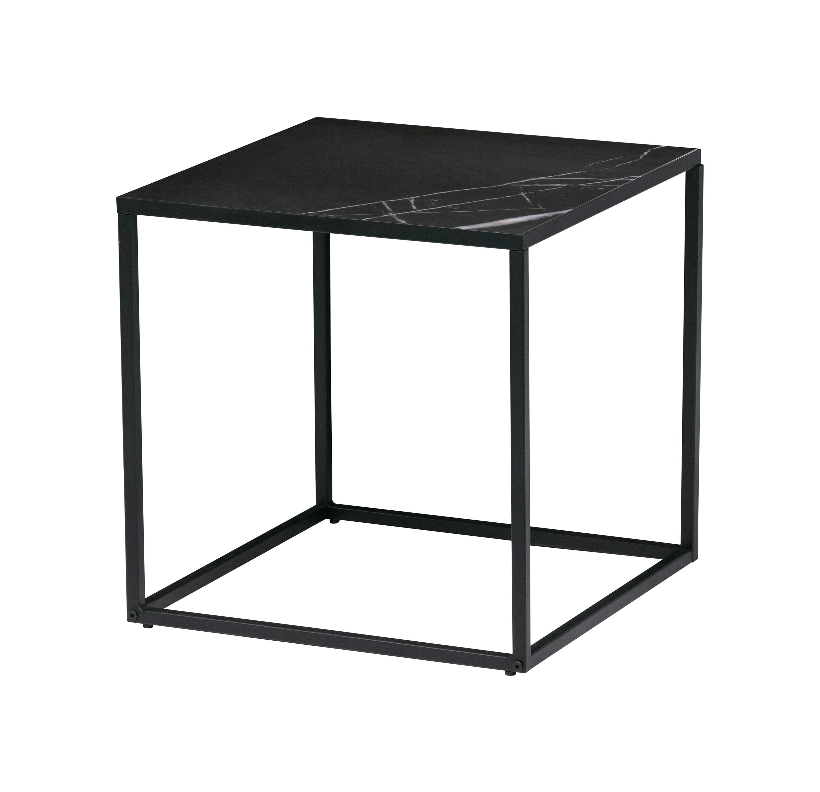 vtwonen Vierkante Bijzettafel 'Side M' Zwart marmer, 45 x 45cm
