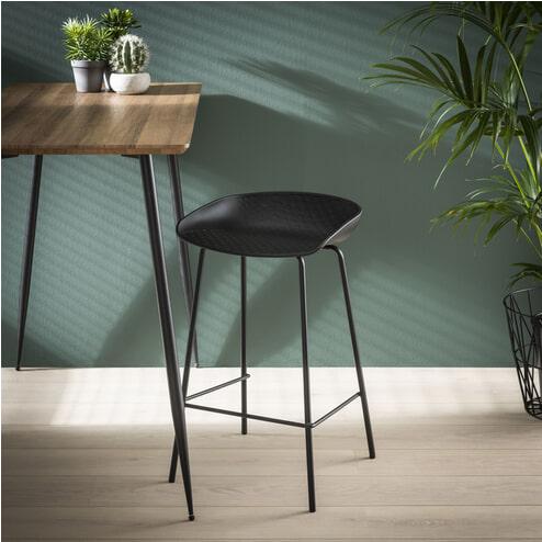 Barstoel 'Gigi' (zithoogte 64cm) kleur Zwart