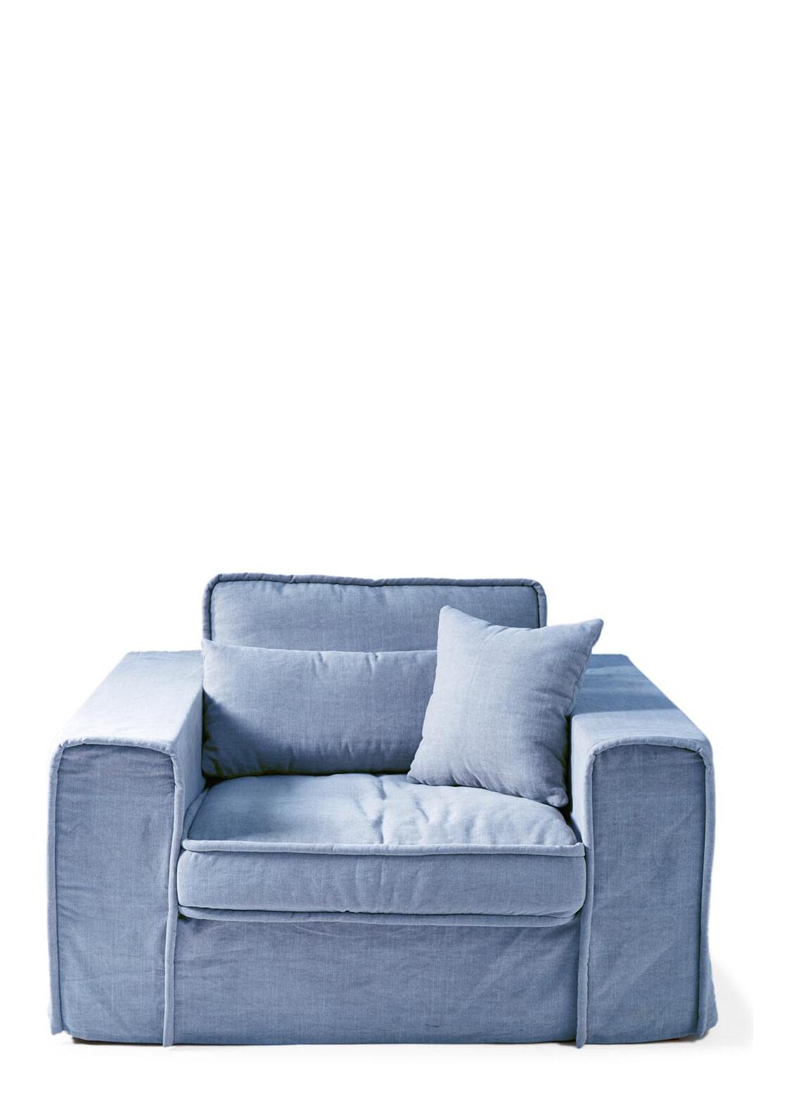 Riviera Maison Loveseat 'Metropolis' Cotton, kleur Ice Blue