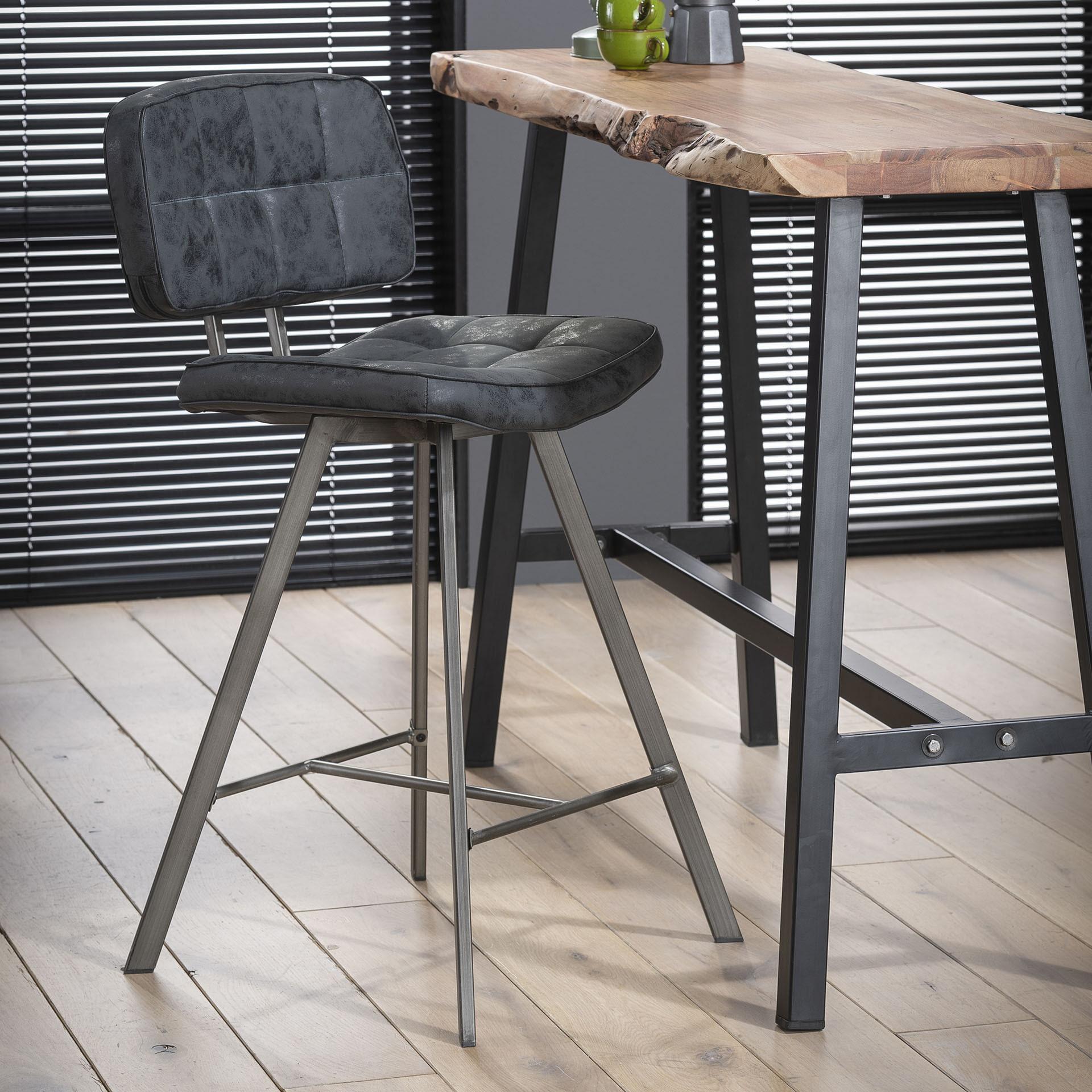 Barstoel 'Ginger' Wax / PU, kleur zwart (zithoogte 68cm) Zitmeubelen | Barkrukken & Barstoelen vergelijken doe je het voordeligst hier bij Meubelpartner