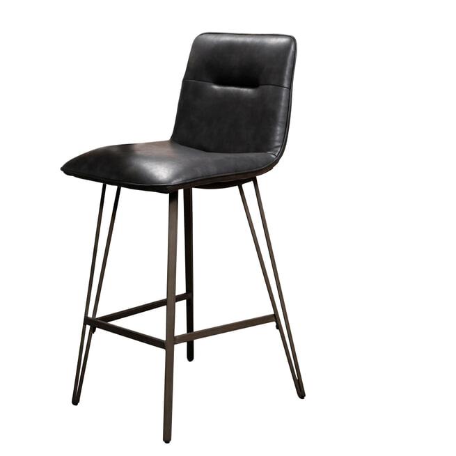 Barstoel 'Patricia' PU, kleur Zwart (zithoogte 68cm)