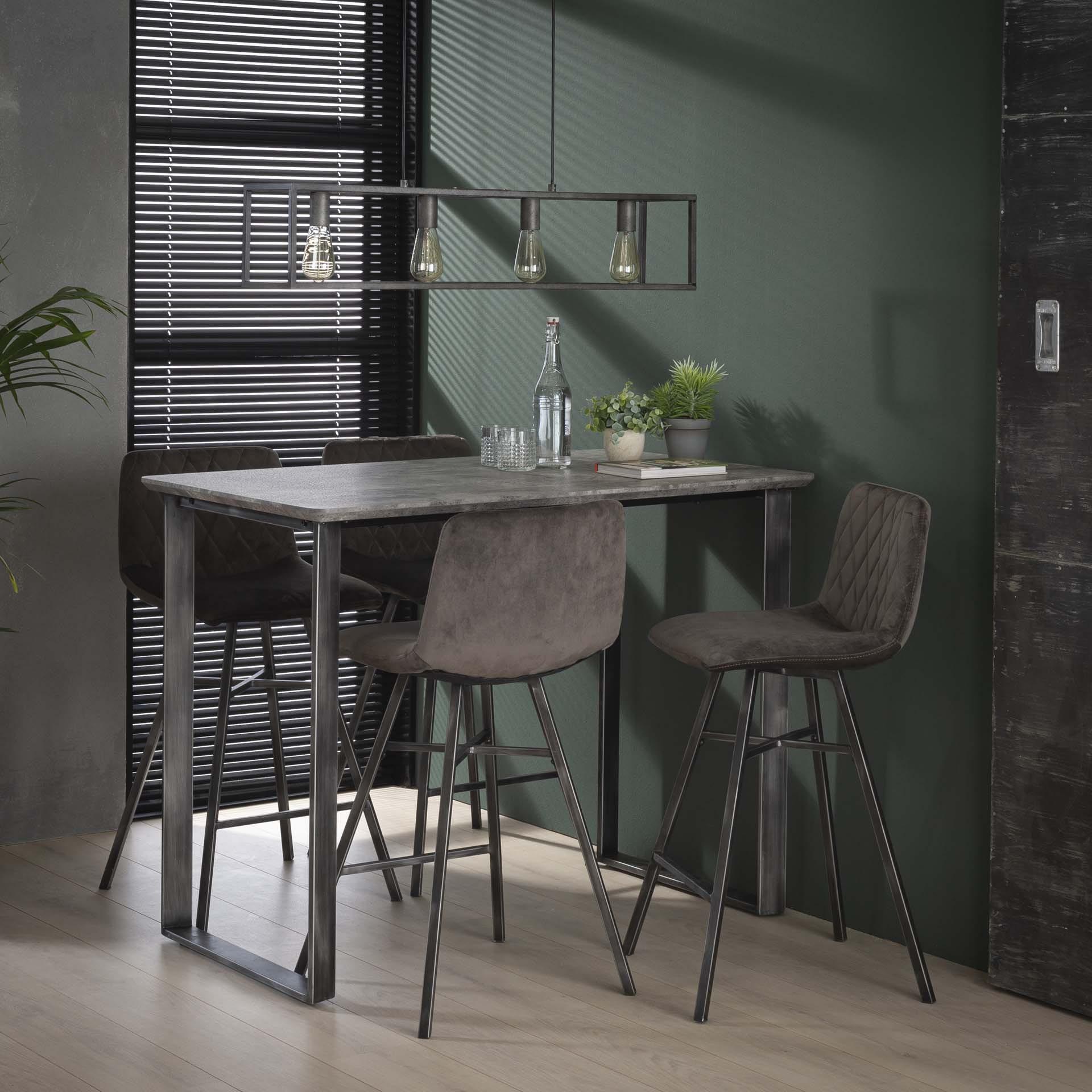 Industri?le Bartafel 'Queens' MDF 120 x 70cm, kleur 3D-betonlook Tafels   Bartafels vergelijken doe je het voordeligst hier bij Meubelpartner
