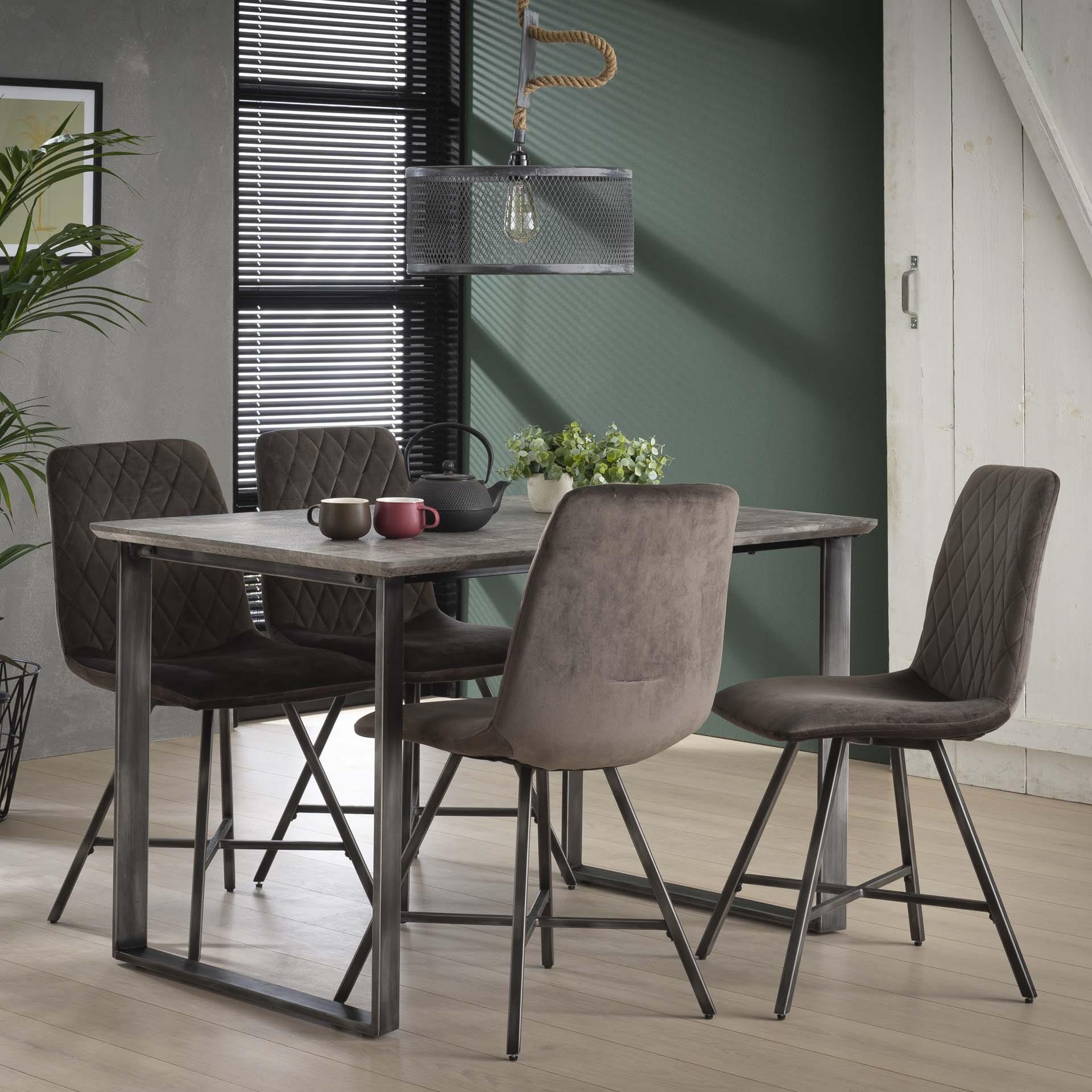 Industri?le Eettafel 'Queens' 120 x 80cm, kleur 3D-betonlook Tafels | Eettafels vergelijken doe je het voordeligst hier bij Meubelpartner