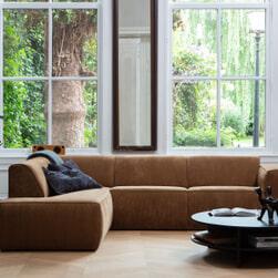 WOOOD Loungebank 'Luna' Links, kleur Honing Geel