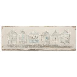 J-Line Schilderij 'Eugenia' Strandhuisjes, kleur Meerkleurig