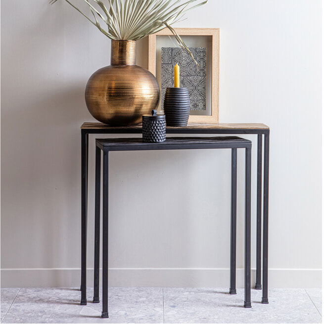 WOOOD Exclusive Sidetable 'Lane' Set van 2 stuks, kleur Zwart/Antique Brass