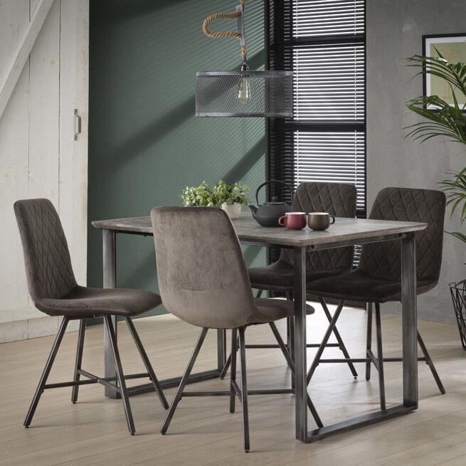 Industriële Eettafel 'Queens' 120 x 80cm, kleur 3D-betonlook
