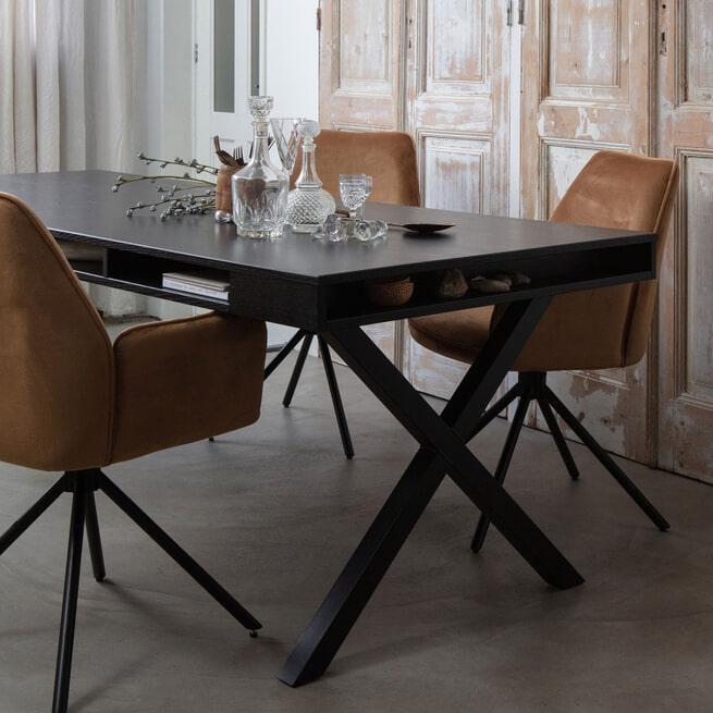 WOOOD Eettafel 'Trian' 220 x 90cm, kleur Zwart