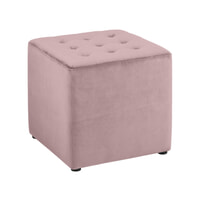 Bendt Hocker 'Meja' Velvet, kleur Dusty Rose