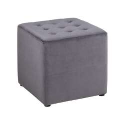 Bendt Hocker 'Meja' Velvet, kleur Dark Grey