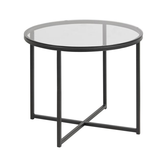 Bendt Bijzettafel 'Lykke' 55cm, met glazen blad
