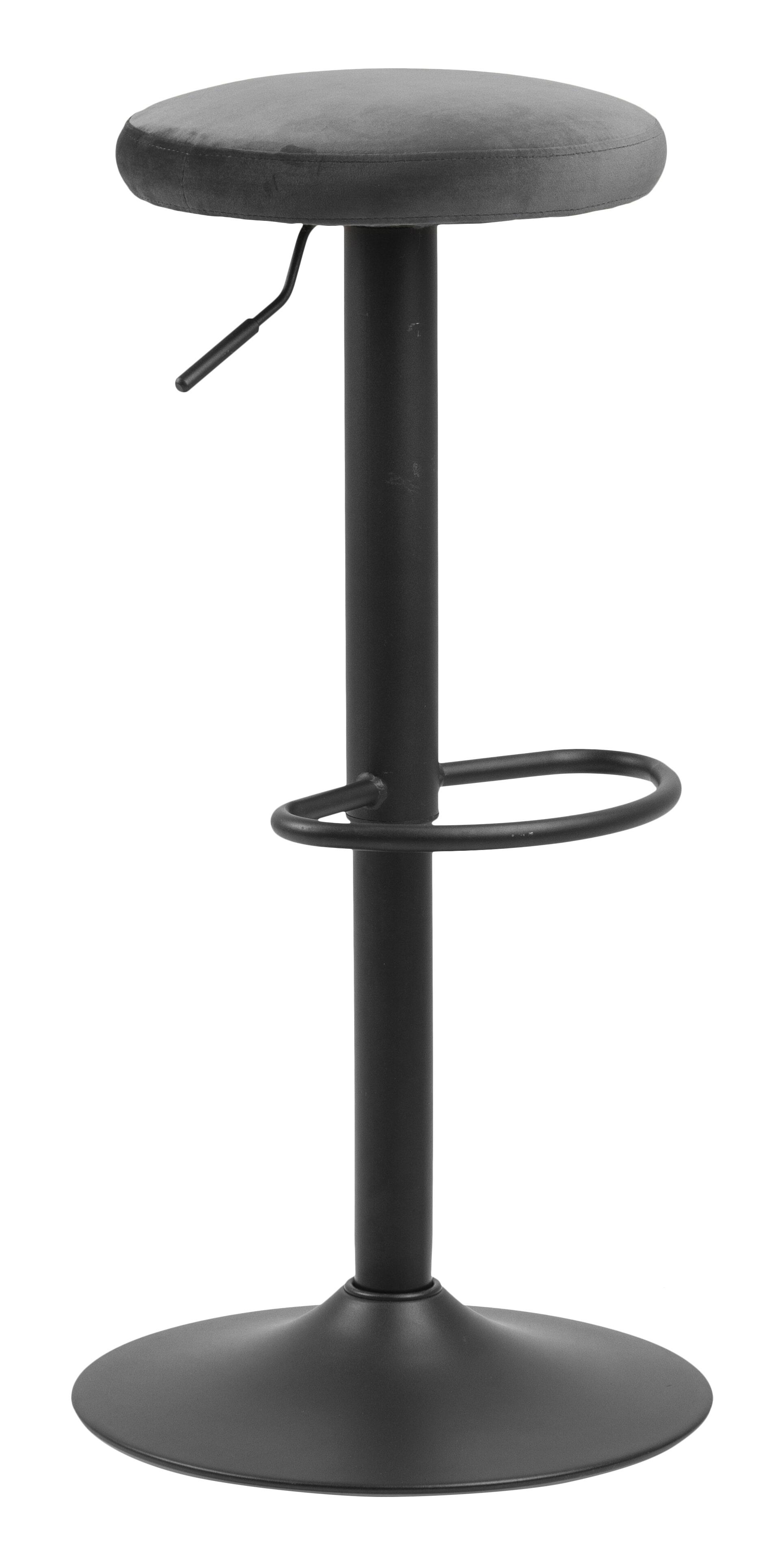 Bendt Barkruk 'Inger' Velvet (zithoogte 62-82cm), kleur Dark Grey