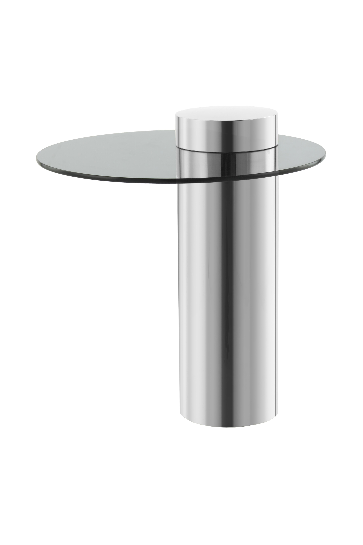 Kayoom Bijzettafel 'Ontario' 46cm, kleur zilver / donker glas