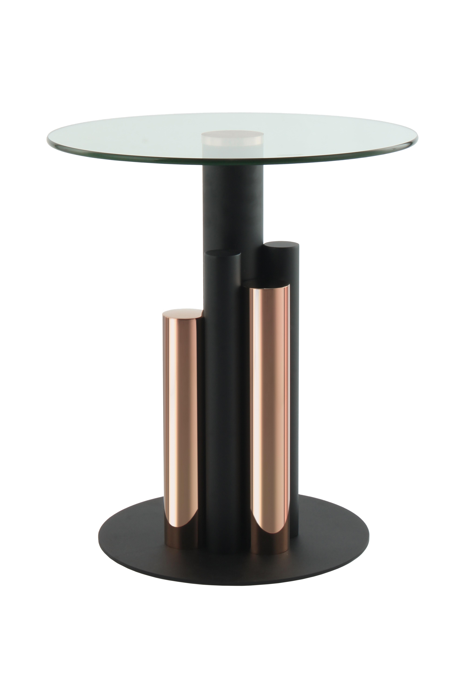 Kayoom Bijzettafel 'Ontario' 46cm, kleur zwart / rosé goud