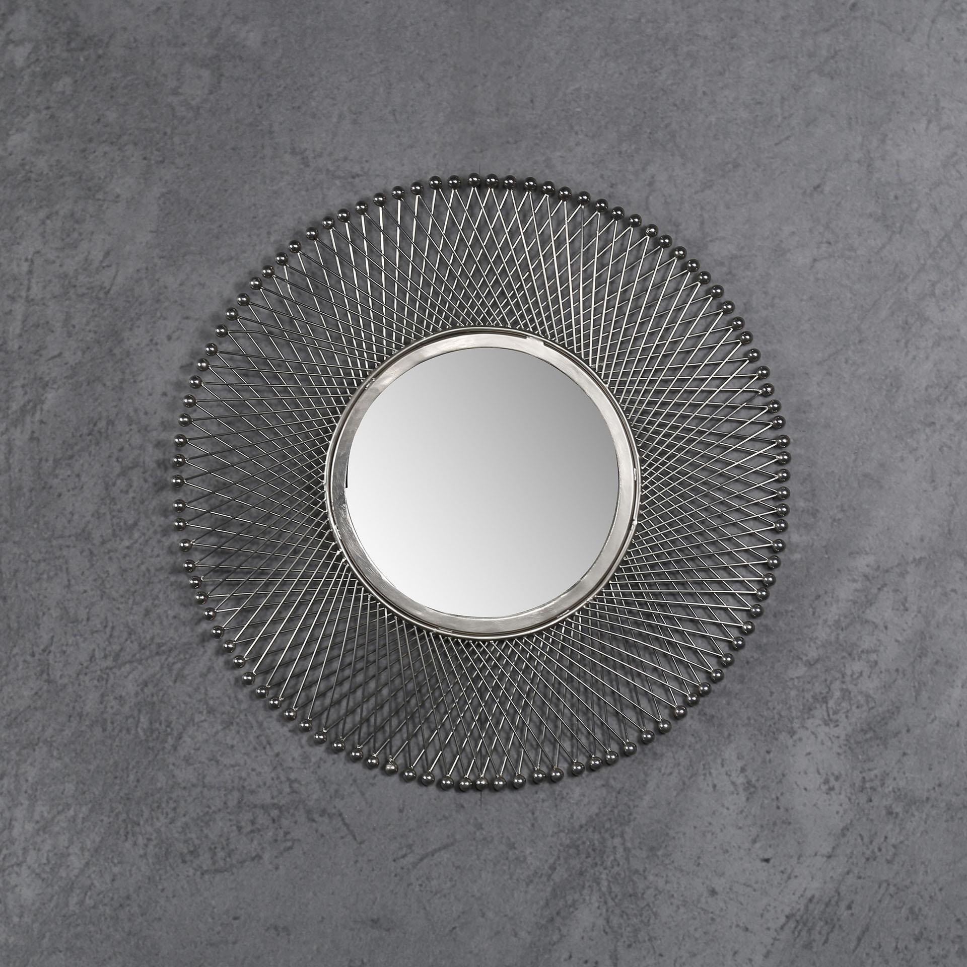 Spiegel 'Lucille' Ø50cm, kleur Antiek Nikkel