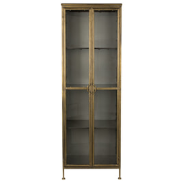 Dutchbone Vitrinekast 'Gertlush' Antique Brass, 184 x 63.5cm