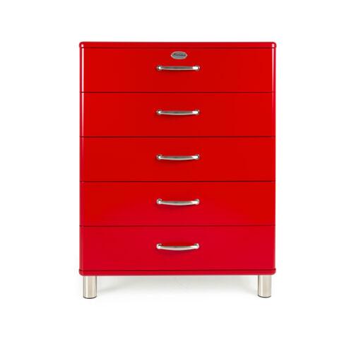 Tenzo Ladenkast 'Malibu' met 5 laden, kleur Rood