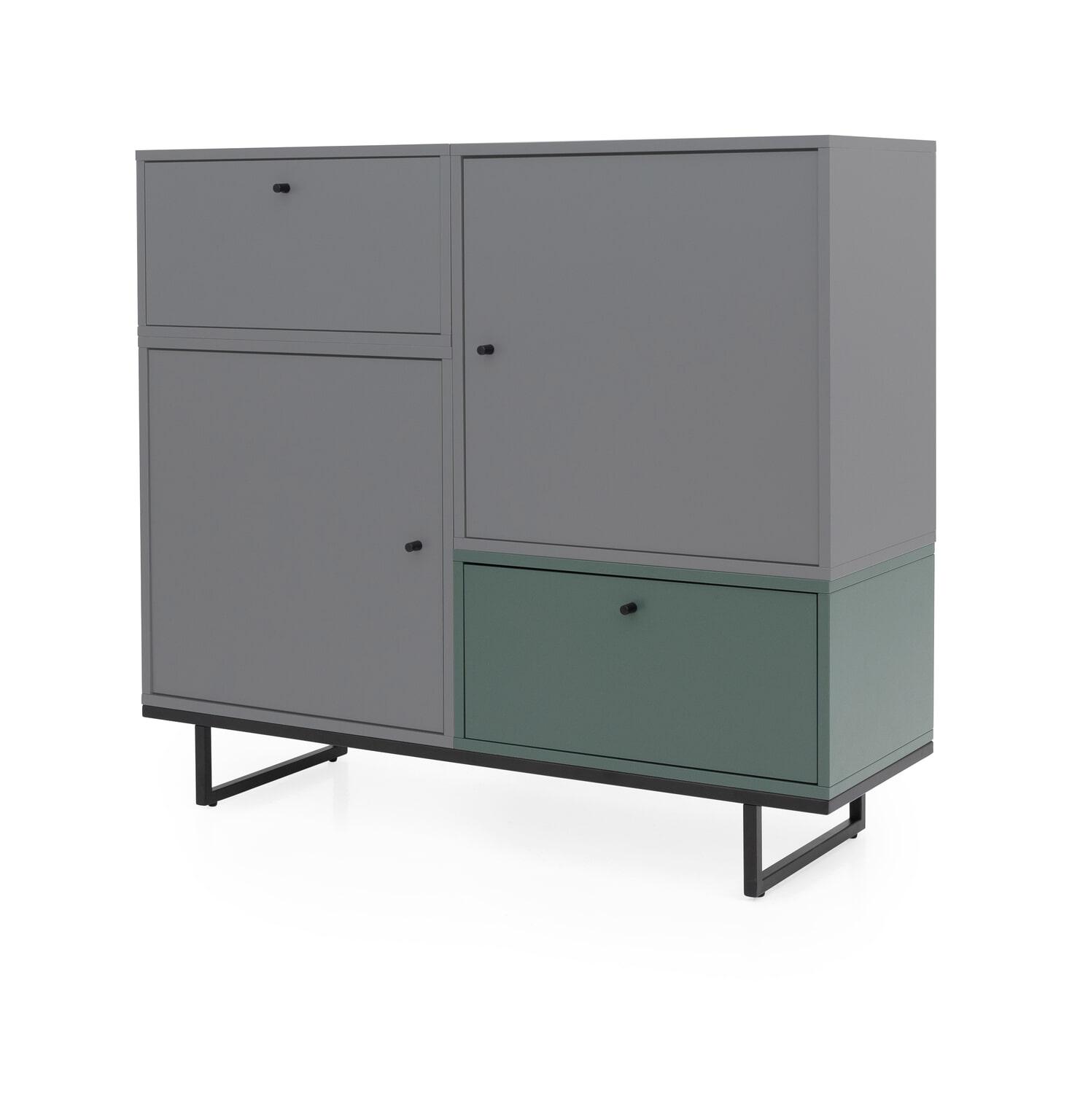 Wonderlijk Tenzo Opbergkast Mudo 99 x 112cm, kleur Grijs/Groen - TE EJ-91