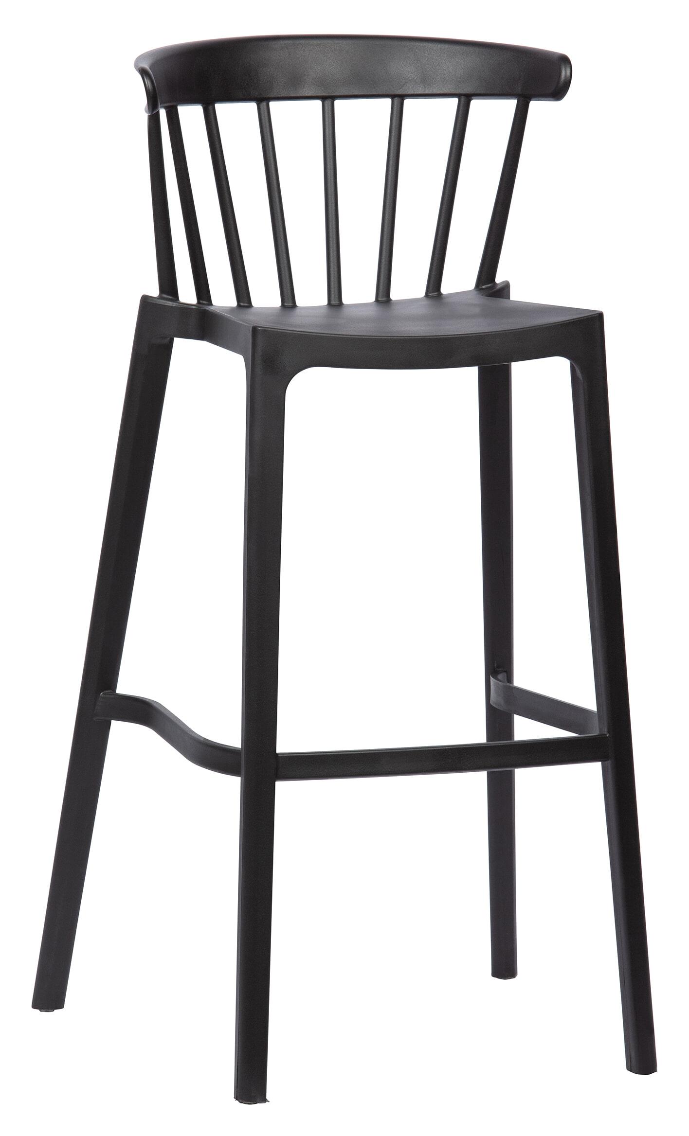 WOOOD Barkruk 'Bliss' kleur Zwart (zithoogte 77cm)