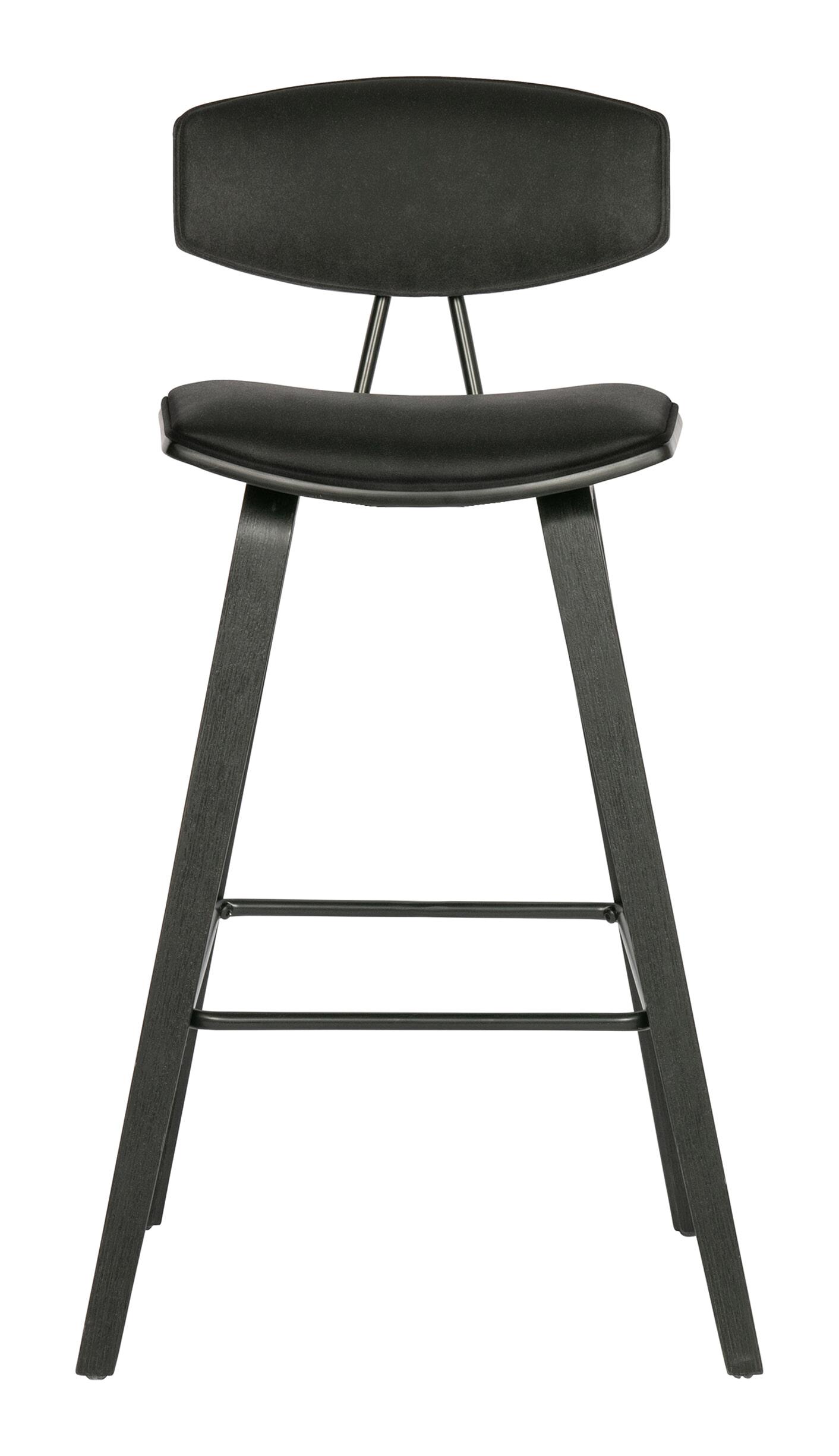 WOOOD Barstoel 'Senn' Velvet, kleur Zwart (zithoogte 71cm)