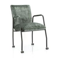 Eleonora Eetkamerstoel met wielen 'Meggy' Velvet kleur groen