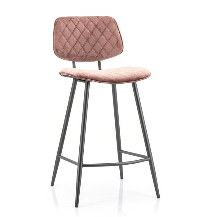 Eleonora Barstoel 'Mandy' (zithoogte 68cm) Velvet, kleur roze