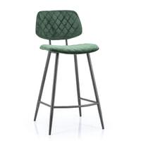 Eleonora Barstoel 'Mandy' (zithoogte 68cm) Velvet, kleur groen
