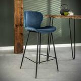 Barstoel 'Gael' Velvet, kleur Blauw (zithoogte 67cm)