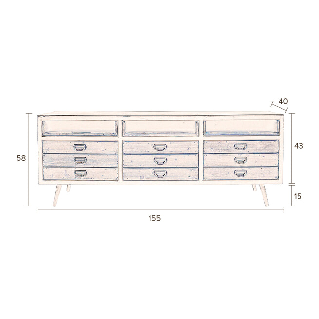 Dutchbone Tv-meubel / Dressoir 'Sol' 155 x 58cm