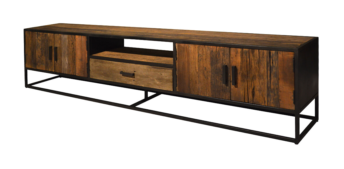 LivingFurn TV-meubel 'Dakota' Riverwood en staal, 240cm