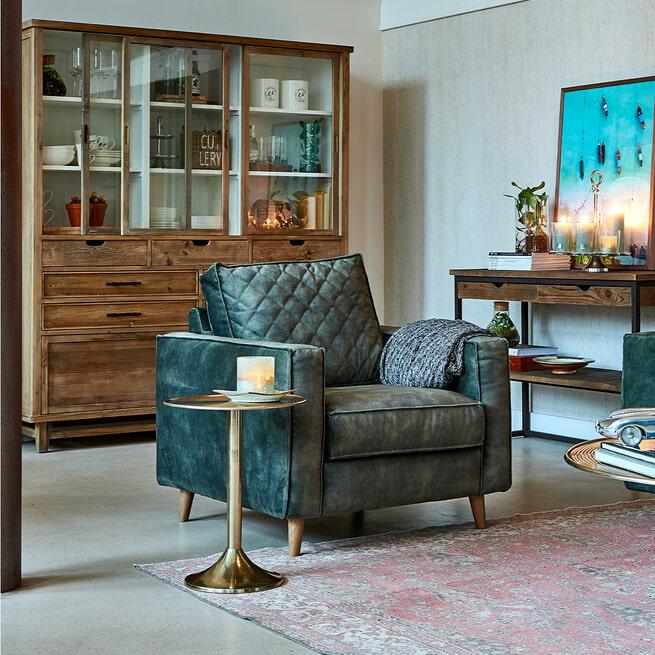 Rivièra Maison Fauteuil 'Kendall' Velvet, kleur Cognac