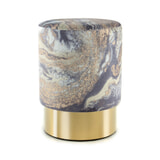 Kayoom Poef 'Amber' 35cm, kleur lichtblauw / goud