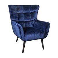 PTMD Fauteuil 'Kian' Velvet, kleur Blauw