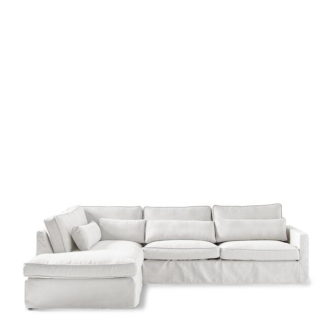 Rivièra Maison Loungebank 'Brompton Cross' Links, Oxford Weave, kleur Alaskan White