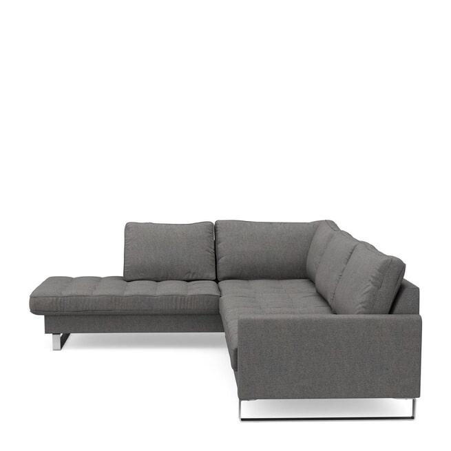 Rivièra Maison Loungebank 'West Houston' Links, Oxford Weave, kleur Classic Charcoal