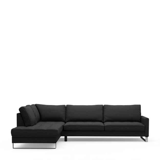 Rivièra Maison Loungebank 'West Houston' Links, Oxford Weave, kleur Basic Black